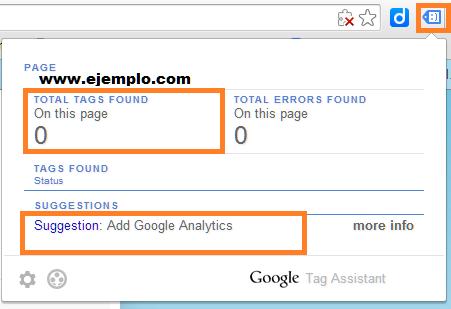 Captura de pantalla de Tag Assistant que verás si no tienes Google Analytics instalado