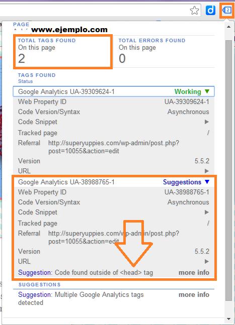 Captura de pantalla de Tag Assistant cuando el código de Analytics está fuera de la cabecera de tu web